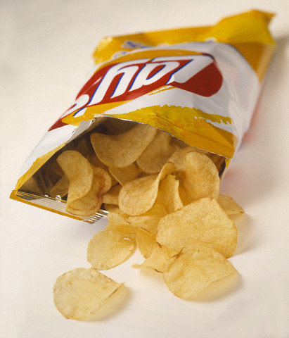 Potato Chips Spilling From Bag