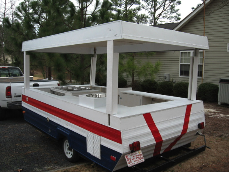 coverting a pop up camper into a hot dog cart