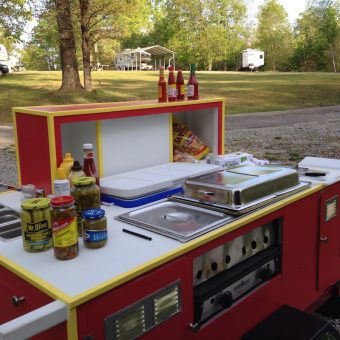 red hot dog cart for sale