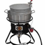propane fryer to cook french fries on a hot dog cart